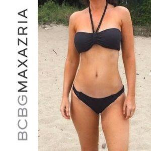 NWT BCBGMaxAzria sexy black bikini top & bottoms S